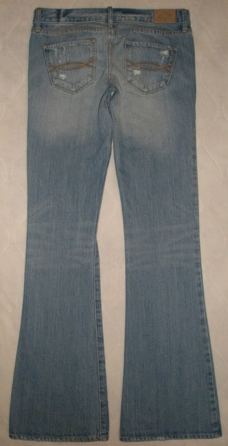 Abercrombie & Fitch 5 Pocket Style * Zip Fly * 100% Cotton * Machine Washable * Low Rise * * Whiskering & Distressing Detail * Factory Flare Leg Jeans-Light Wash