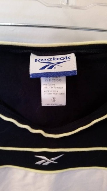 Reebok Reebok cotton blend Navy/white/yellow multi-sport athletic top women's sz S