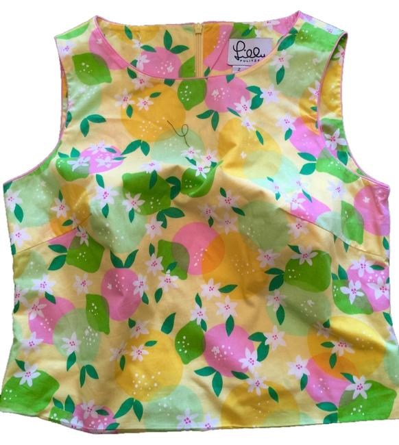 Lilly Pulitzer Top Yellow, Pink & Green