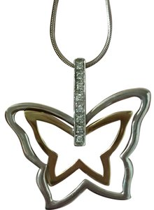 Necklace Butterfly Silver/14kt Diamond Necklace