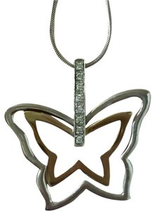 Other Necklace Butterfly Silver/14kt Diamond Necklace