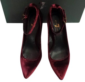 7 For All Mankind Wedge Heels Velvet Patent Leather Bordeaux red Pumps