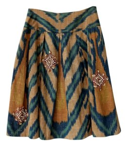 Oscar de la Renta Full Embellished Skirt Brown and Green