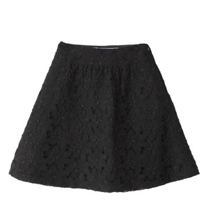 Tuleh Silk Floral Circle Skirt Black