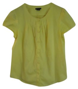Theory Cotton Blend Cap Sleeve Top Lemon yellow