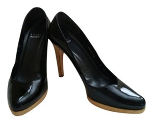 Stuart Weitzman Leather Platform Black Patent Pumps