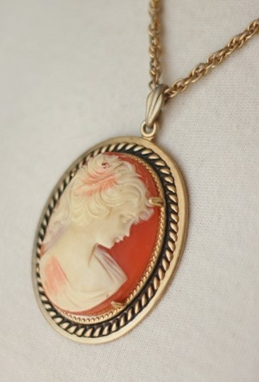 Indie Gold & Coral Colored Cameo Necklace