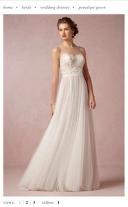 Watters Ivory / Bronze Soft Tulle; Polyester Lining Penelope Gown Style: 33158643 Feminine Wedding Dress Size 4 (S)