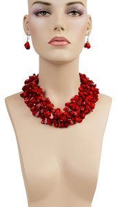 Red Multi Strand Necklace & Earrings