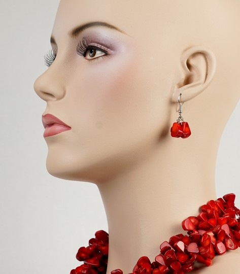 Other Red Multi Strand Necklace & Earrings