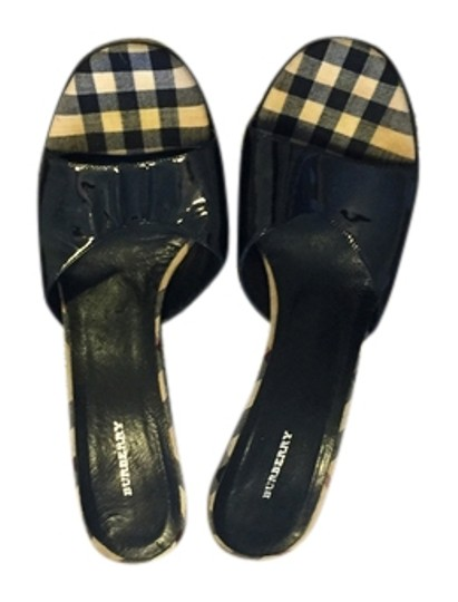 Burberry London Black patten leather Mules