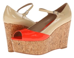 Paris Hilton Orange/Natural Patent Wedges
