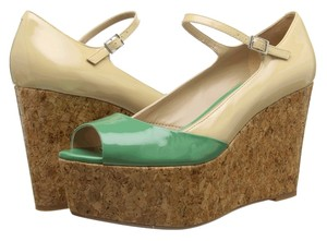 Paris Hilton Green/Natural Patent Sandals