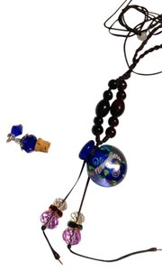 Murano Glass Perfume Bottle Necklace W/ Cork Lid Navy Blue J1075