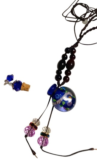 Other Murano Glass Perfume Bottle Necklace W/ Cork Lid Navy Blue J1075
