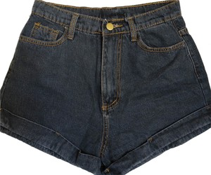 Other High Waisted Cuffed Shorts Dark Denim