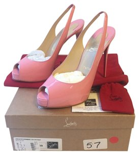 Christian Louboutin Size 9 Private Number Private Number 120 Slingback Rose Pink Platforms