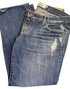 Abercrombie & Fitch Capri Distressed Capri/Cropped Denim-Medium Wash