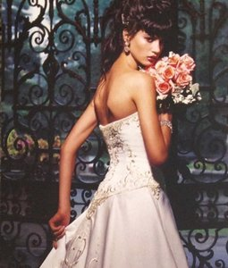 Eve Of Milady 1375 Satin Silver Embroidery Beading Strapless Ballgown Eve Milady Wedding Dress