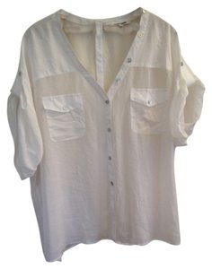 Daniel Rainn Sheer Buttons Back Top White