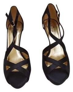 Kate Spade Satin Leather Sole Black Sandals