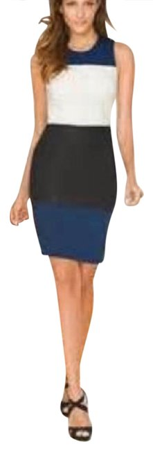 Boston Proper Black Multi Colorblock Ponte Sheath with Faux Leather Above Knee Formal Dress Size 8 (M) Boston Proper Black Multi Colorblock Ponte Sheath with Faux Leather Above Knee Formal Dress Size 8 (M) Image 1