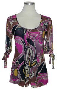 Sweet Pea by Stacy Frati Mesh Knit Top Pink Multi