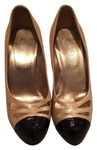 Chanel Two-tone 36 Mettalic Pale gold Pumps