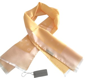 Louis Vuitton Louis Vuitton Monogram 100% Delicate Silk Capri Wrap Scarf Gold Copper 14