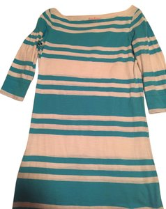Lilly Pulitzer short dress Teal/White Striped Beach Summer Cotton Nautical Boat on Tradesy