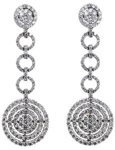 ABC Jewelry Diamond circle dangle earrings 4.55tcw G color Si2 Clarity white gold made usa