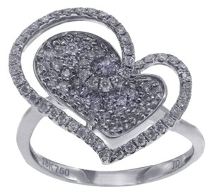 BRAND NEW, Ladies 18K White Gold Diamond Heart Ring With Halo