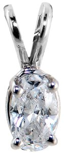 ABC Jewelry Diamond pendant oval shape .26tcw G color Si3 clarity 14k white gold made in usa