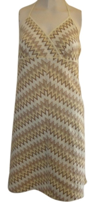 Ann Taylor LOFT short dress biege Halter Sundress Zigzag on Tradesy