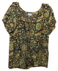 Anthropologie Lightweight Silk & Cotton Wear To Work Anthro Viola Boho Top Yellow Paisley Print