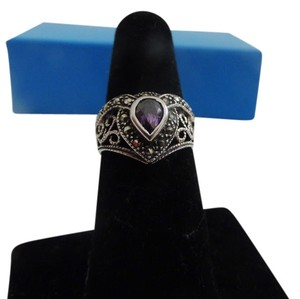 .925 Sterling Silver Amethyst Marcasite Ring Size 7 1/2