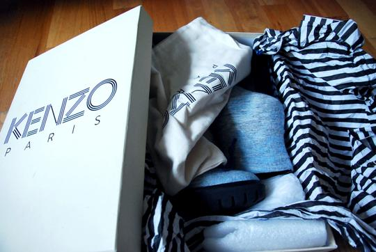 Kenzo Ankle Baby Wool Lug Sole Chic Unique light blue marl Boots