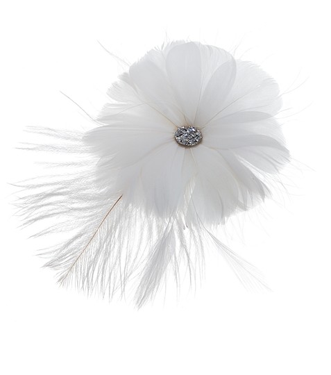Lori London Feather Flower Hair Comb With Stripped Coque And Hackle