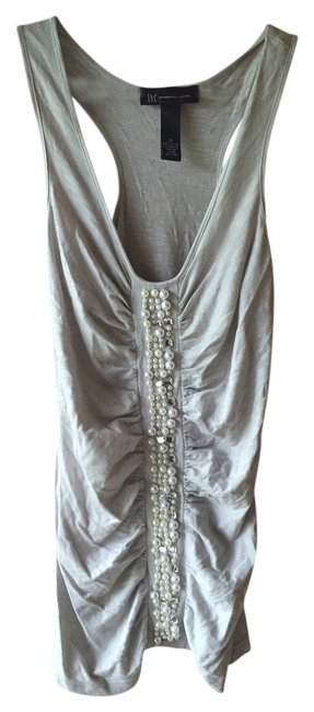 INC International Concepts Beaded Embellished Top Grey