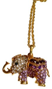 Other New Elephant Necklace Large Purple Yellow Gold Pendant 26 Inch Chain J1080