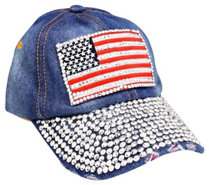 Other USA American Flag Bling Bling Crystal Distressed Denim Baseball Cap