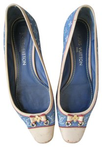 Louis Vuitton Rubber Bottom Sole Bow Tie Blue Denim Flats