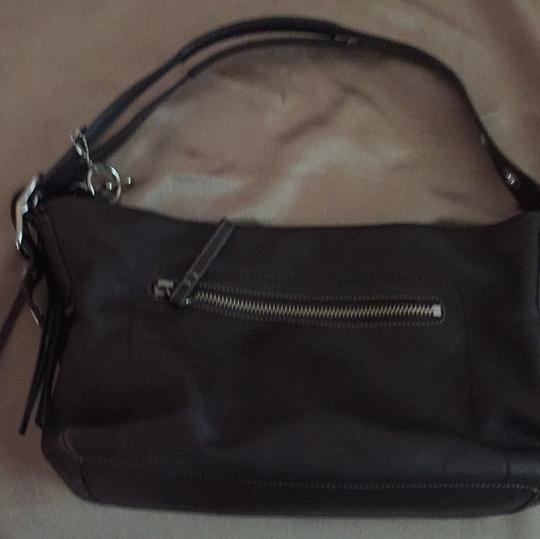 Coach Soft Leather Chocolate Tassel Silver Hardware Adjustable Straps Classic Hobo Bag