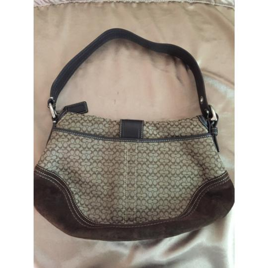 Coach Classic Logo Leather Suede Silver Hardware Hobo Bag