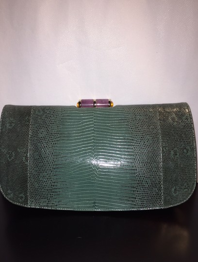 BVLGARI Evening Holiday Party Lizard Leather Forest Green Clutch