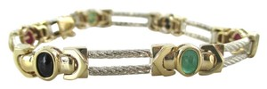 14KT YELLOW WHITE GOLD BRACELET BANGLE CABLE MULTI COLOR STONES 17.1 GRAMS JEWEL