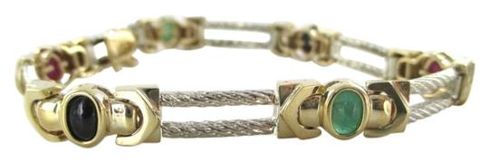 Other 14KT YELLOW WHITE GOLD BRACELET BANGLE CABLE MULTI COLOR STONES 17.1 GRAMS JEWEL
