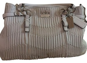 Coach Leather Silver Ruching Satchel in White