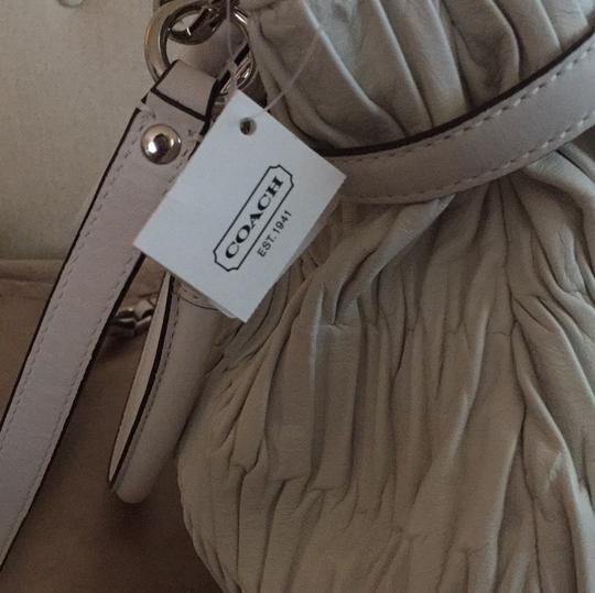 Coach Leather Silver Ruching Lilac Satchel in White