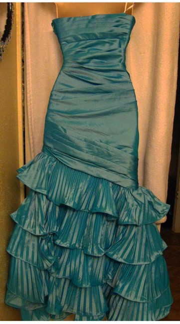 Camille la Vie Full-length Ruched Sheath Tiered Ruffles Mermaid Strapless Dress